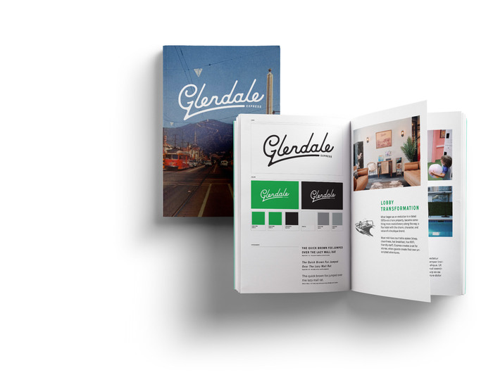Glendale Express brand book showing the cover and interior pages