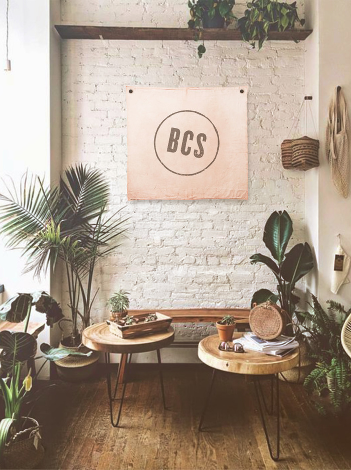 BCS Tapestry on a brick wall in a room with many house plants