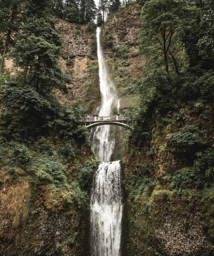 View of Multnomah Falls Waterfall in Oregon