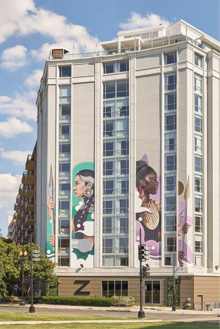 Hotel Zena building murals
