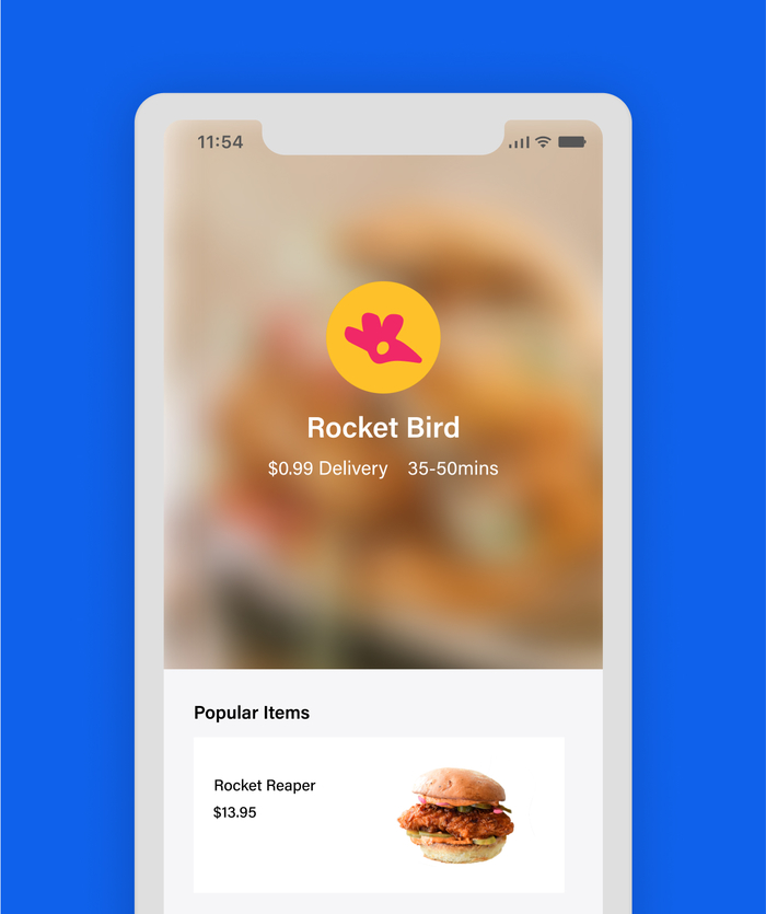 Landing screen of delivery food app showing rocketbird head icon in pink on yellow circle