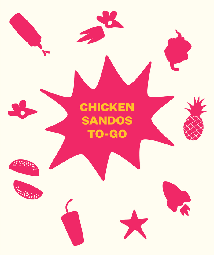 Pink illustration of blast with small food illustrations exploding outwards, and the words Chicken sandos to go