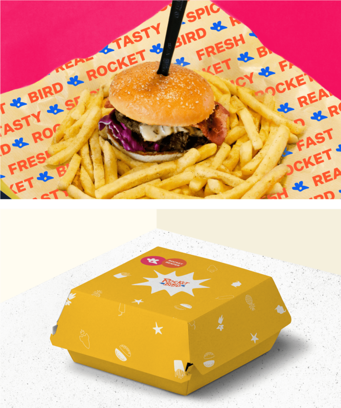 Top: Sandwich and fries against pink wall with rocketbird tissue paper. Below:Yellow sandwich packaging with illustrations