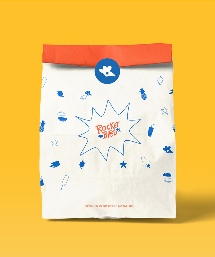 White delivery paper bag with orange back and blue custom food illsutrations