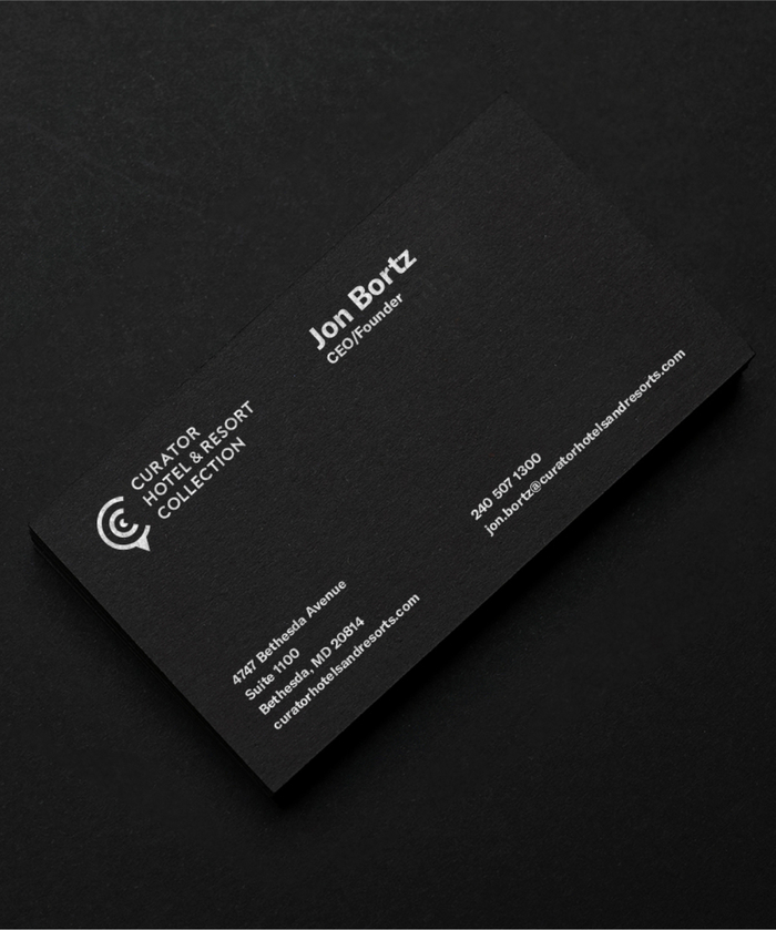 Curator Hotel & Resort Collection Business Card Detail